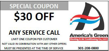 $30 off service call coupon for America's Green Heating and Air Conditioning in Maryland