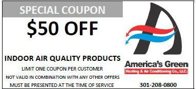 $50 off Air quality coupon for America's Green Heating and Air Conditioning in Maryland
