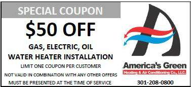 $50 off Water heater coupon for America's Green Heating and Air Conditioning in Maryland