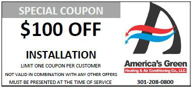 $100 off HVAC installation coupon promotion for America's Green Heating and Air Conditioning in Maryland